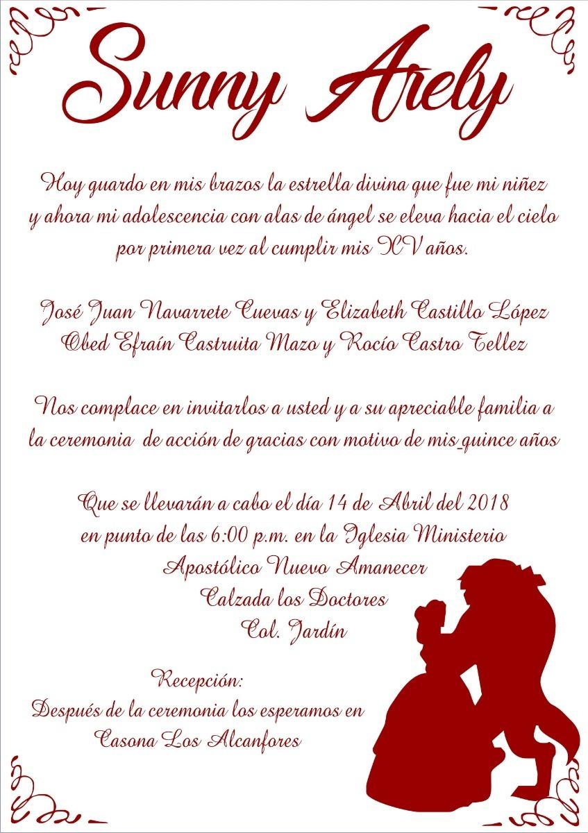 Invitacion Quince Años Boda Etc Bella Y Bestia
