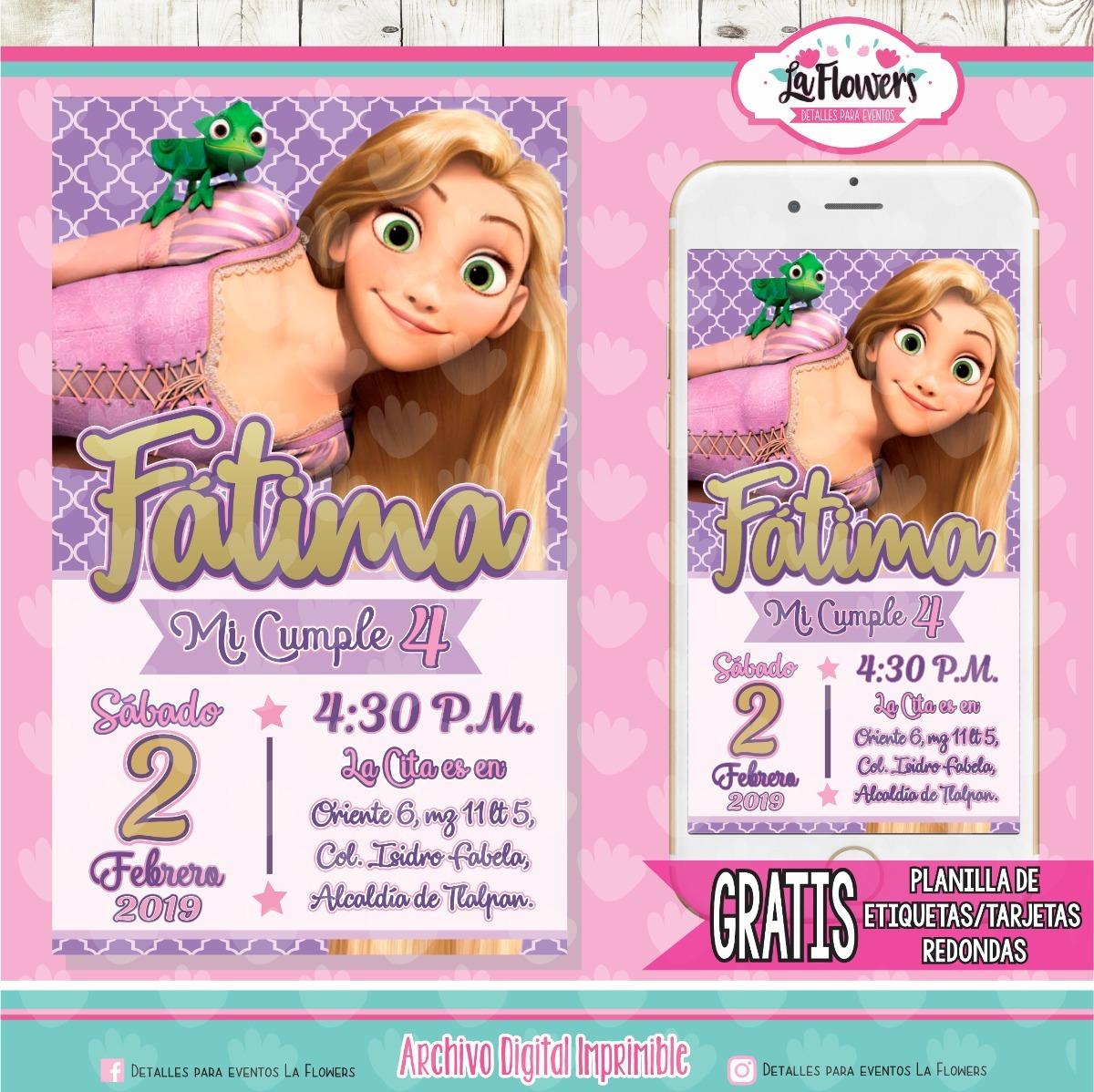 Invitación Rapunzel Digital Imprimible Personalizada