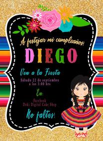 Invitación Redonda Tema Mexicano