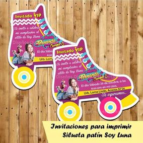 Invitación Silueta Patín Soy Luna Para Imprimir Personalizad