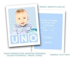 Invitacion Souvenir Con Foto Tarjeta Varon Primer Año 10x15