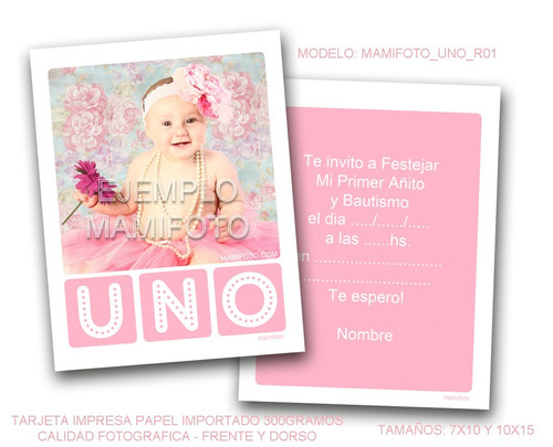 invitacion souvenir foto tarjeta nena primer año 10x15 shaby