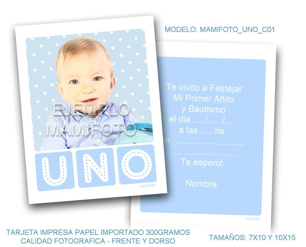 Invitacion Souvenir Foto Tarjeta Nene Cumpleaños Bautismo