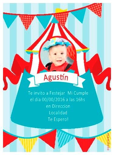 Invitacion Souvenirs Tarjetas 13x18 Añito Cumple Bebe Circo