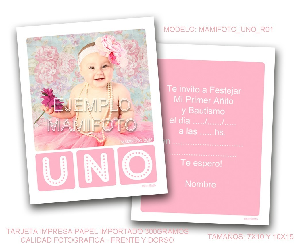 Invitacion Tarjeta 10x15 Foto Primer Cumple Bebe Bautismo ...
