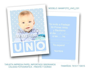 Invitacion Tarjeta 10x15 Foto Primer Cumple Bebe Bautismo
