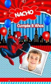 Invitacion Tarjeta Animada Cumpleaños Spiderman Hombre Araña