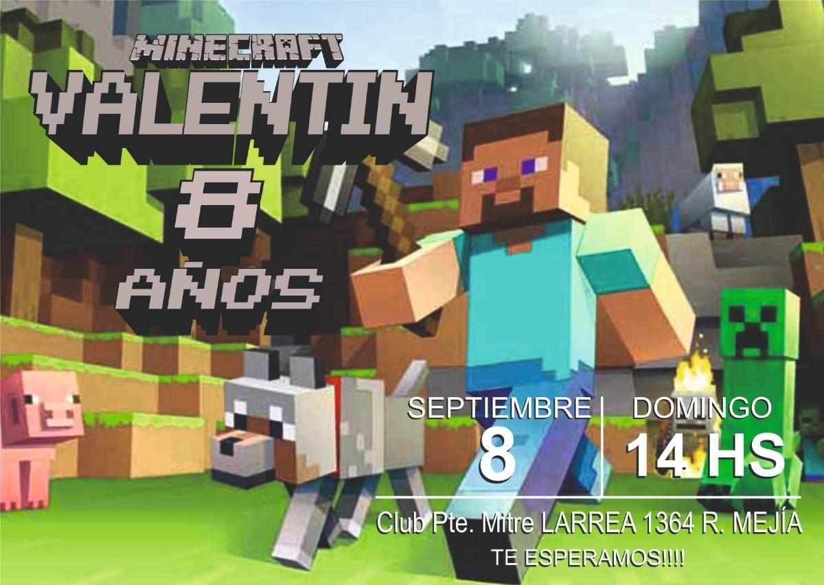 Invitación Tarjeta Digital Minecraft Cumple
