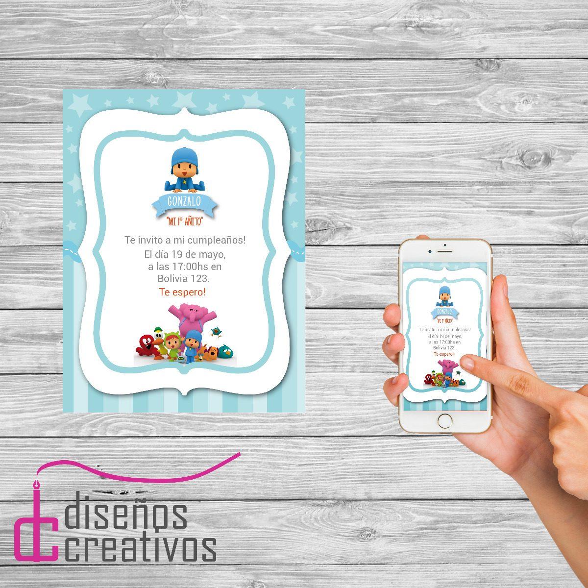 Invitación Tarjeta Digital Personalizada Cumpleaños Pocoyo