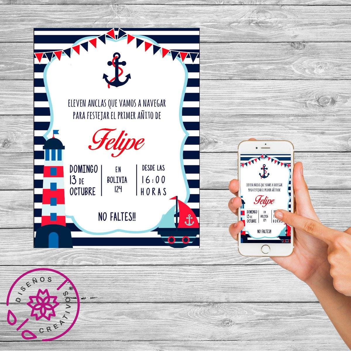 Invitación Tarjeta Digital Personalizada Marinero Cumpleaños