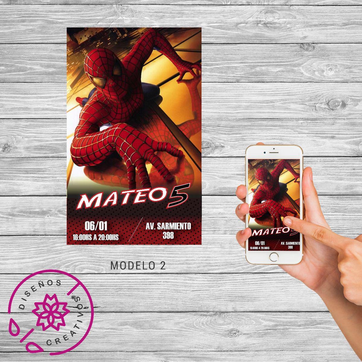 Invitación Tarjeta Digital Spiderman Cumpleaños Hombre Araña
