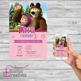 Invitación Tarjeta Personalizada Digital Masha Y El Oso