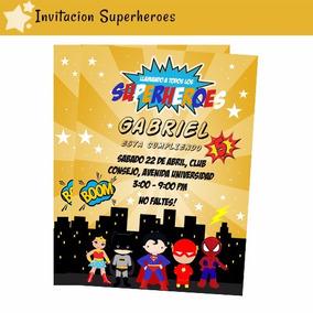 Invitacion Tarjeta Superheroes Imprimible