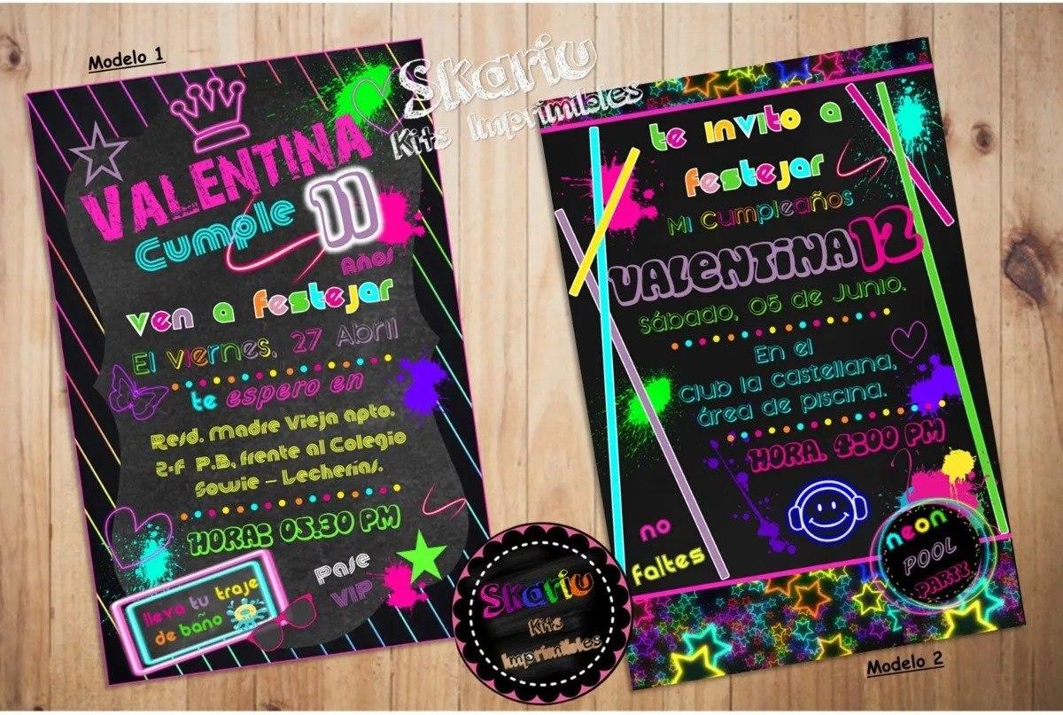 Invitación Tipo Pizarra Neon Tarjetas Digitales