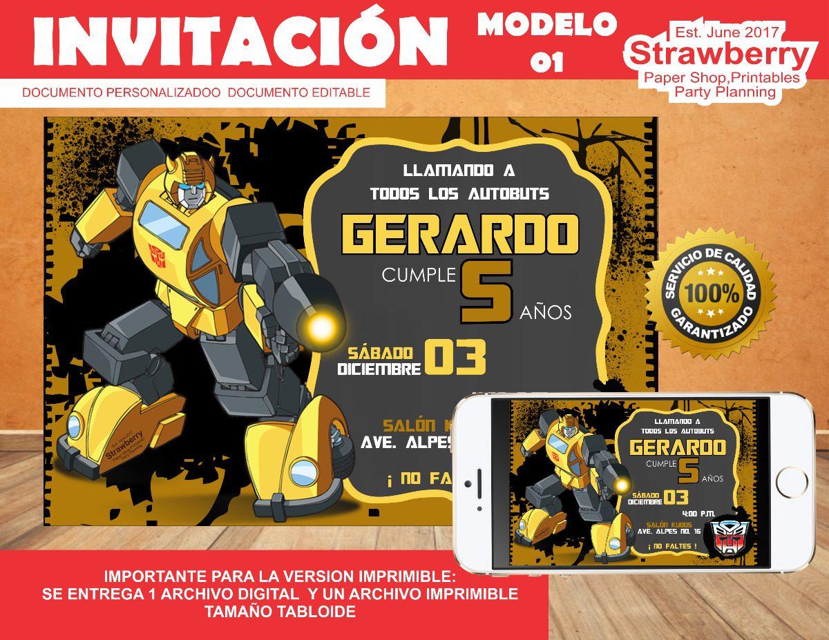 invitacion tipo pizarron bumblebee transformers 01