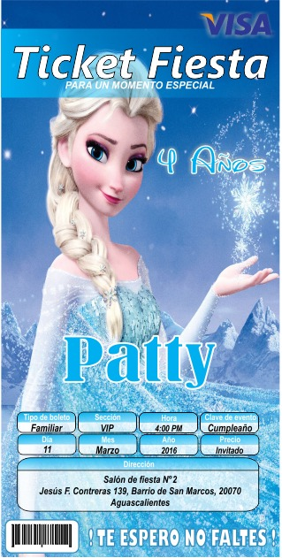 invitaci u00f3n tipo ticketmaster frozen