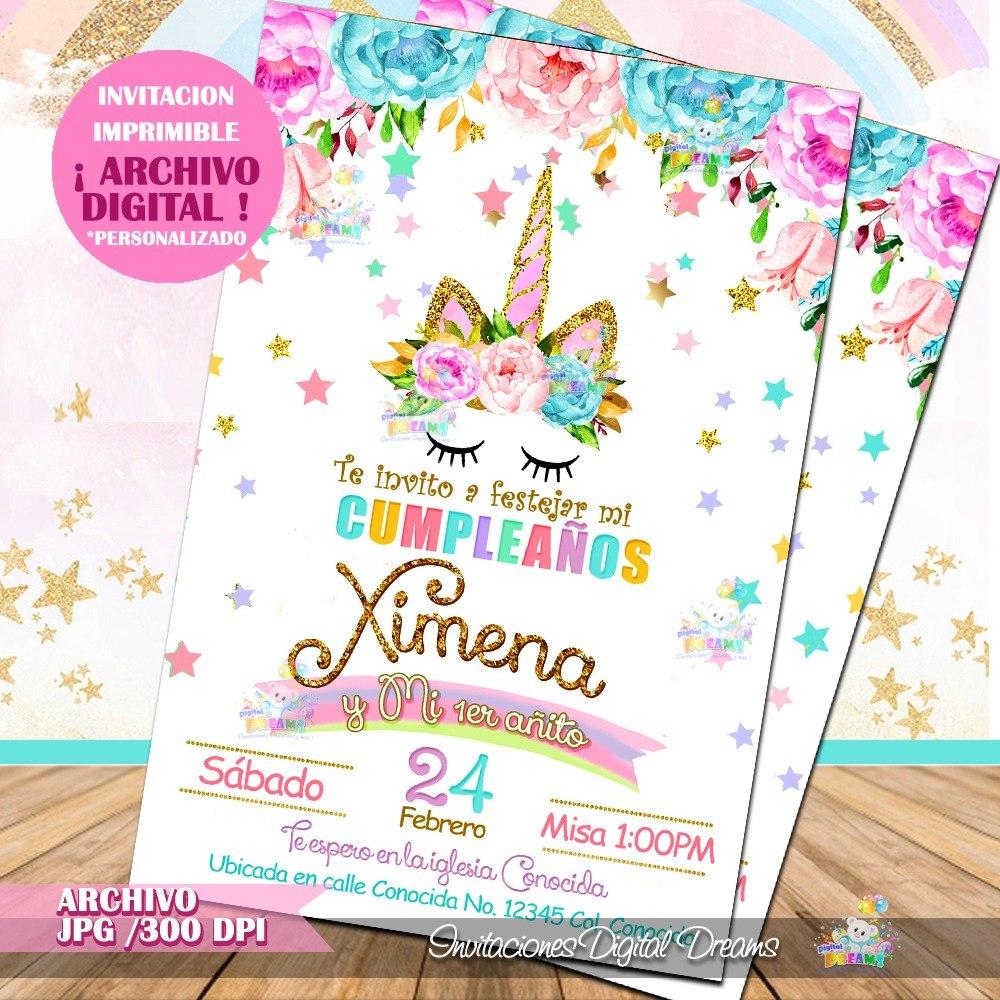 Invitacion Unicornio 95 00 En Mercado Libre