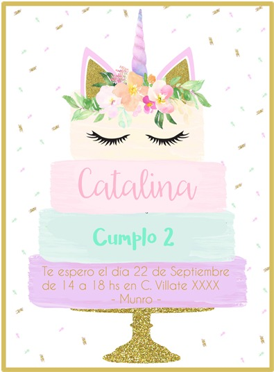 Invitacion Unicornio Imprimible Y Virtual Mod Cake