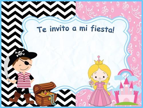 invitación unisex pirata y princesa