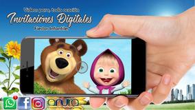 Invitación Vídeo Digital Masha Y El Oso Cumpleaños