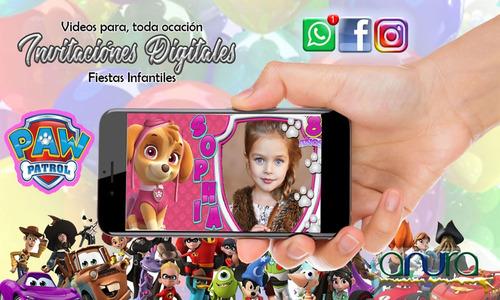 invitación vídeo digital paw patrol niña de cumpleaños
