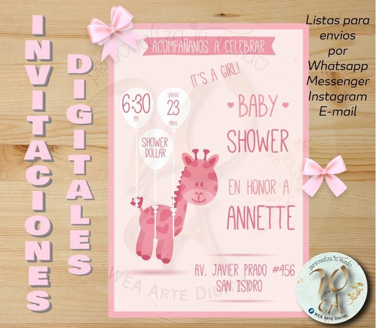Invitacion Video Tarjeta Personalizadas Baby Shower Girl