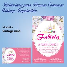 Invitación Vintage Primera Comunión Imprimible