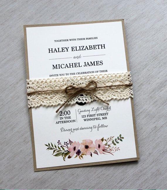 Invitaciones Para Matrimonio Rustico : Invitación vintage rústico floral boda bautizo comunión