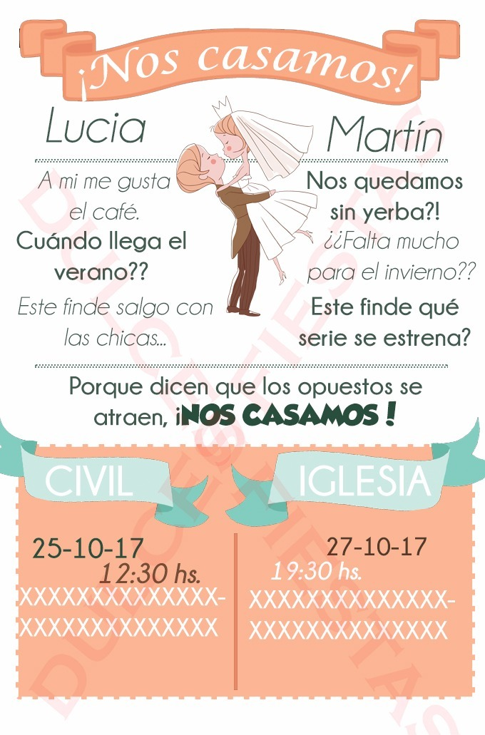 Invitación Virtual Boda Casamiento Para Whatsapp Mail Face
