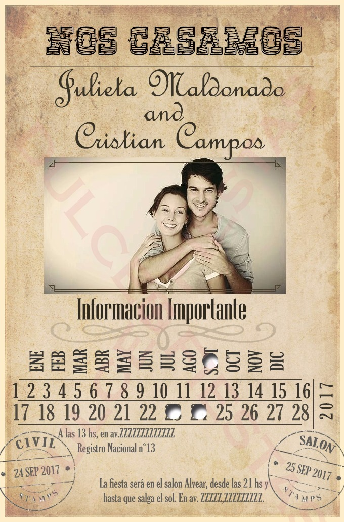 Invitación Virtual Boda Casamiento Para Whatsapp Mail Face