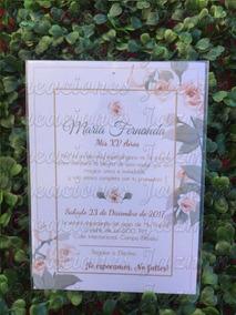 Invitación Xv Años Flores Impresa 10x14 Cm 50 Pzas