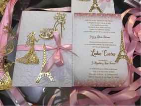 Invitación Xv Años Paris Grandes Oro Glitter 100 Inv