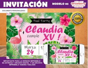 Invitacion Xv Años Pool Party Albercada Flamingo 03