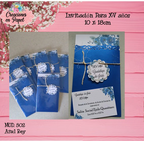 Invitacion Xv Quince Años Azul Rey