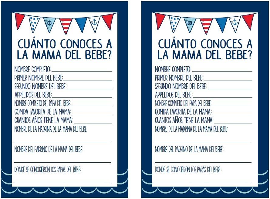 Invitacion Y Juegos Baby Shower Nautico Para Imprimir Ninos 20