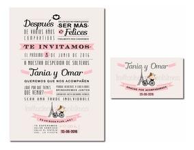 Invitación Y Tarjeta Despedida De Soltera Mixta Imprimible