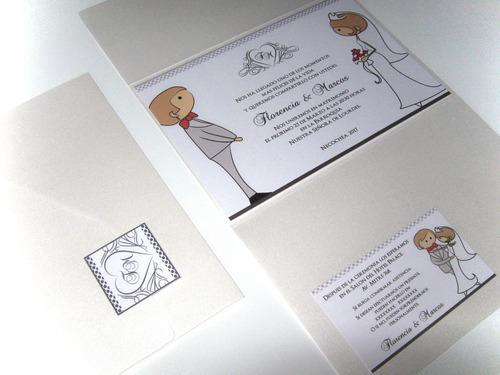 invitaciones 15 años boda sobre triptico perlado apaisado