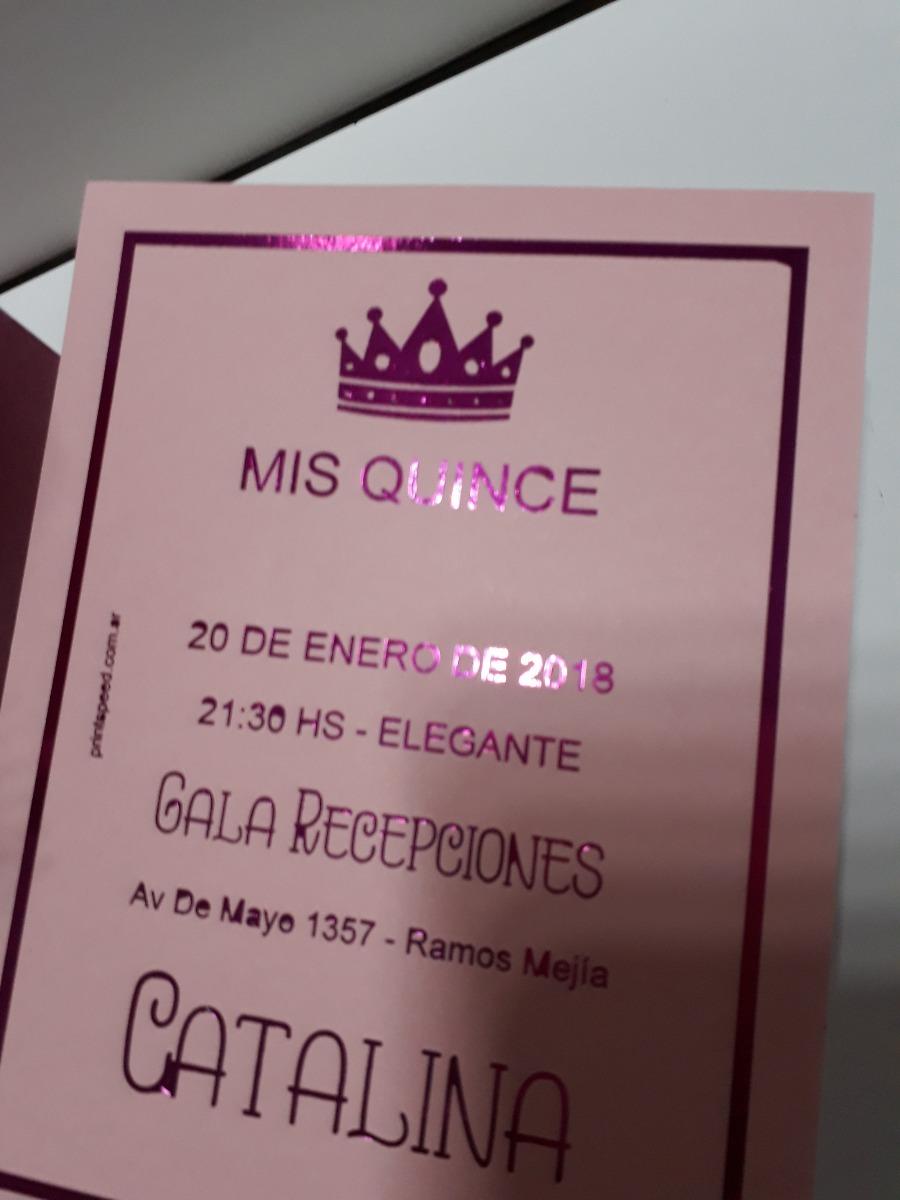 Invitaciones 15 Años Letras Fucsia Brillante Stamping