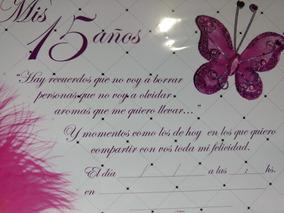 Invitaciones 15 Años Pre Impresas Mariposa Con Pluma Fucsia