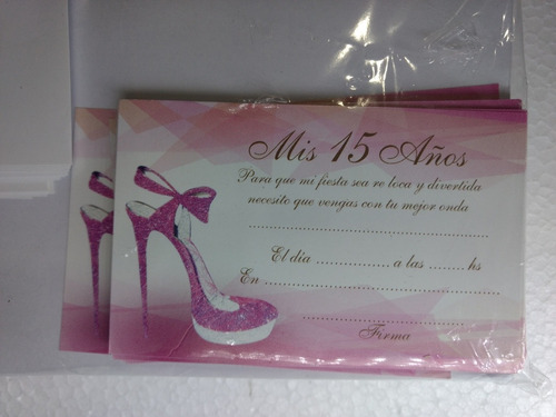 invitaciones 15 años pre impresas (zapato rosa-fucsia)