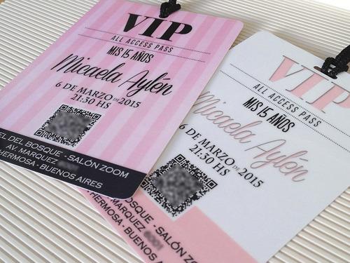 invitaciones 15 años tarjetas credenciales vip  x10