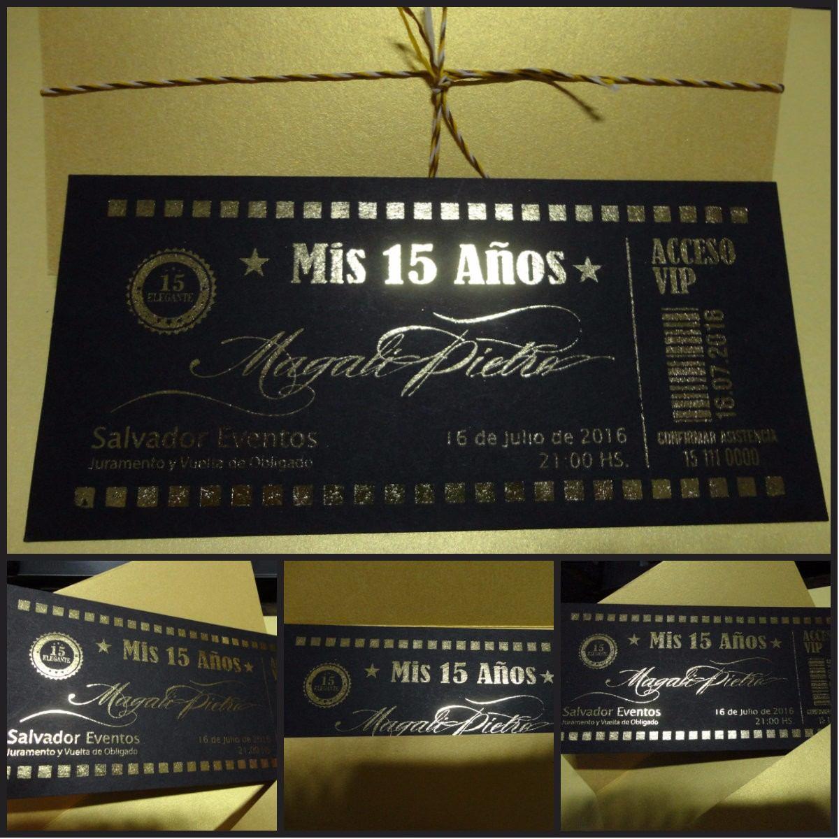 Invitaciones 15 Años Ticket Papel Negro Letras En Dorado