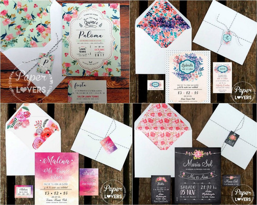invitaciones 15 quince casamiento originales sobre estampado