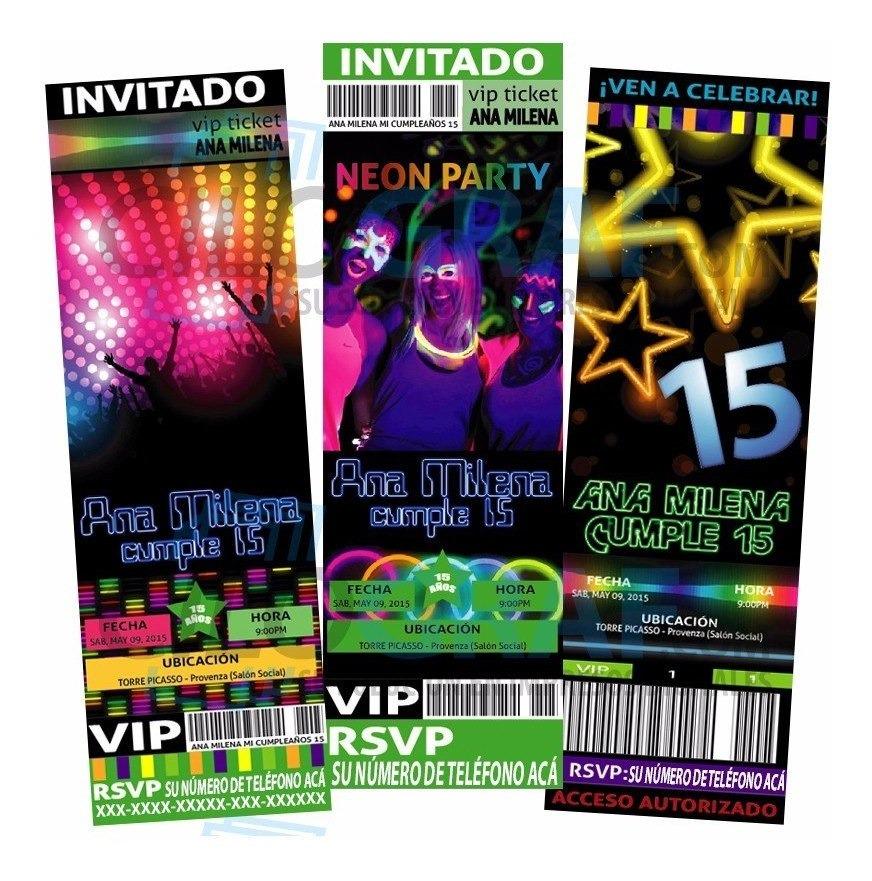 Invitaciones A Fiesta De Cumpleaños Neon Glow
