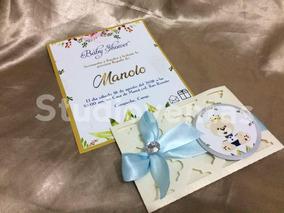 Invitaciones Baby Shower Bautizo Ositos Letra Dorado 15 Pzas
