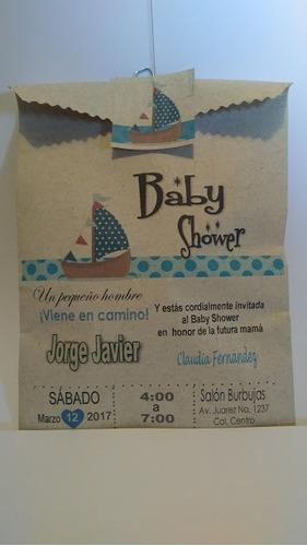 invitaciones baby shower bolsa papel kraft  13 x 20cm