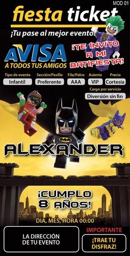 invitaciones batman lego personalizadas