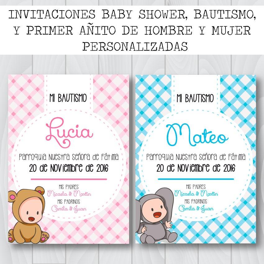 Invitaciones Bautismo Baby Shower Primer Año Personalizada