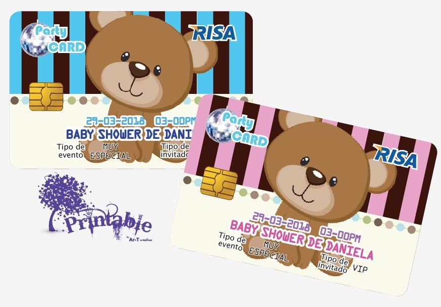 invitaciones bautizo baby shower originales tarjeta plastico
