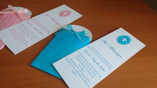 invitaciones bautizo detalle de cruz con bolsillo